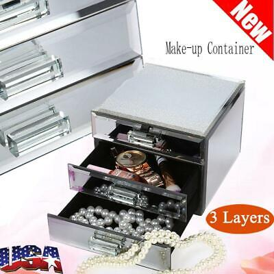 3 Layers Mirrored Jewelry Box Trinket Storage Make-up Container Case Drawer Gift