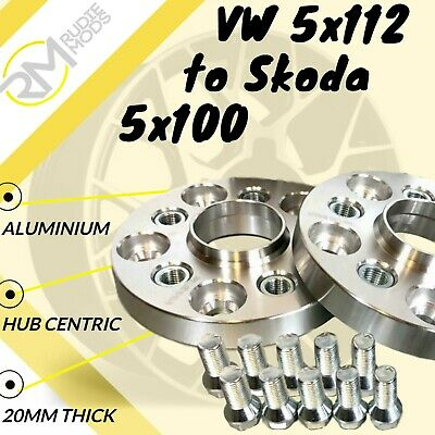 VW CAR 5x112 57.1 to Skoda 5x100 20mm Hubcentric PCD Adaptors - Steel Inserts