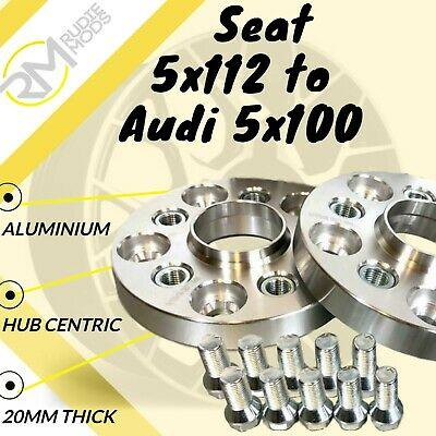 Seat CAR 5x112 57.1 to Audi 5x100 20mm Hubcentric PCD Adaptors - Steel Inserts