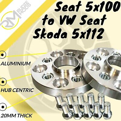 Seat 5x100 57.1 to VW Seat Skoda 5x112 57.1 20mm Hubcentric PCD Adaptors 1 Pair