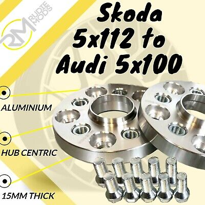 Skoda CAR 5x112 57.1 to Audi 5x100 15mm Hubcentric PCD Adaptors - Steel Inserts