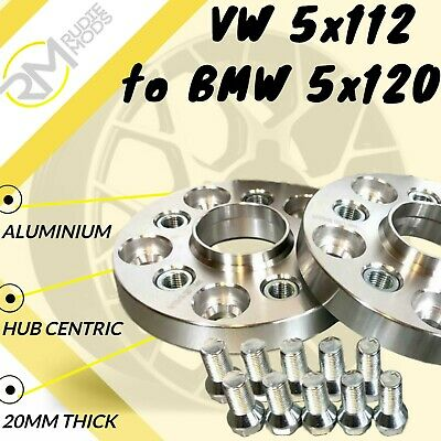 VW CAR 5x112 57.1 to BMW 5x120 20mm Hubcentric PCD Adaptors - Steel Inserts