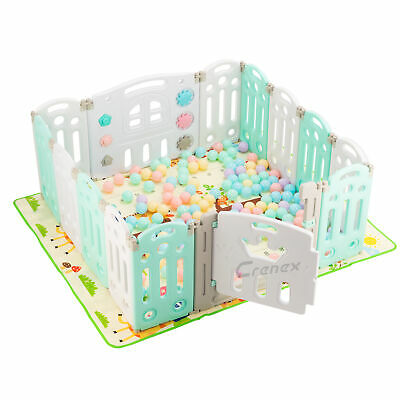 Baby Playpen Plastic Foldable Kids Safety Play Yard 14 Panel with Door