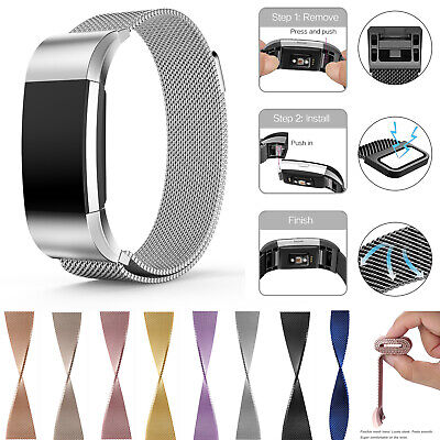 For Fitbit Charge 2 Milanese Straps Stainless Watch Band Replacement Wrist Band
