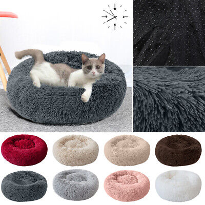 UK Comfy Calming Dog/Cat Bed Round Super Soft Plush Pet Bed  Cat Bed
