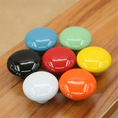Solid Color Ceramic Round Cabinet Wardrobe Drawer Door Cupboard Knob Pull Handle