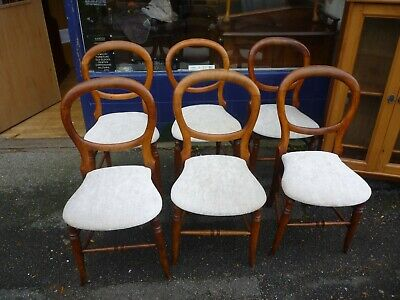 Decorative Set Of Six Antique Victorian Mahogany Balloon Back Kitchen Chairs