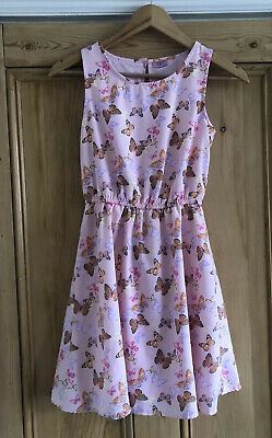 Girls F&F Pink Butterfly Print Dress Age 11-12 Years