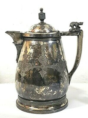 19th Century Victorian Meriden Silver Plate Ice Water Pitcher w Bear Finial