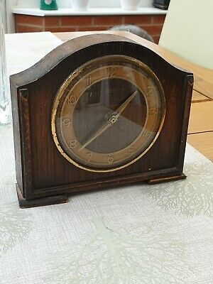 Vintage Smith's Wooden Clock. Works but selling as spares or repair