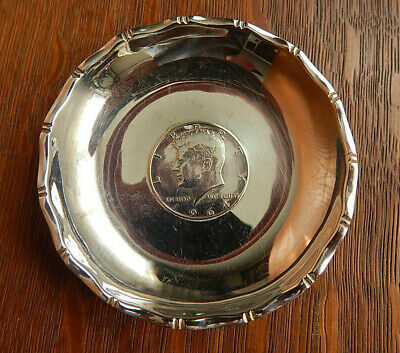 Vintage Sammy Hong Kong 1964 Kennedy Half Sterling Silver Coin Dish Small Bowl