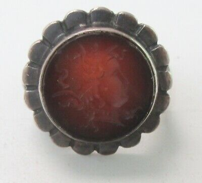 Antique Intaglio Ring Sterling Silver Carved Carnelian Reverse Cameo