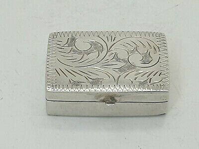 Small Vintage Rectangular Sterling Silver Pill Box