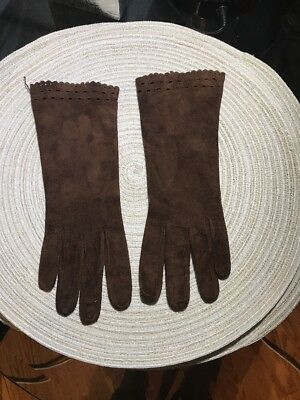 Womens' 1950s VINTAGE Handmade  BROWN  suede Leather Evening Gloves NICE 7