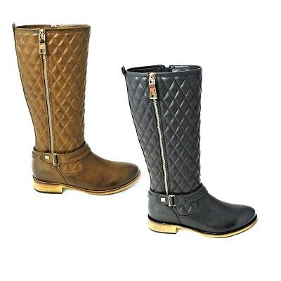 Ladies Fashion Quilted Knee High Zip Up Riding Boots Smart Casual Sizes 3-8