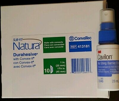 1bx-10 Convatec Surfit Natura Durahesive 1in #413181 + Sting Free Barrier Spray
