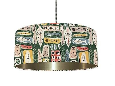 *6 Brushed lining* Vintage 50s Atomic Green Fabric Lampshade Mid Century Modern