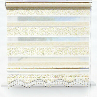 Zebra Perde Double Roman Blind Duo Shade Gold Glitters String Window Curtains