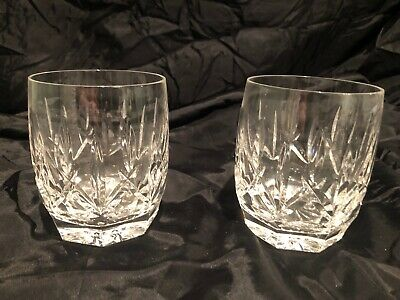 2 Waterford Crystal Lismore Double Old Fashioned Octagon Base Drinking Glass