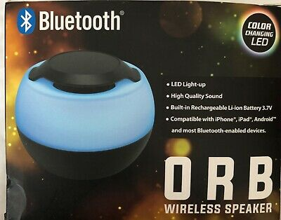 Bass Jaxx Orb Wireless Bluetooth v4.2 Speaker Color Changing LED Blue Black Body