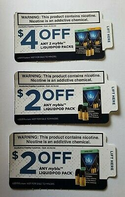 My Blu Coupons $8 value 3 Coupons Expires 1/31/20 Liquidpod pack