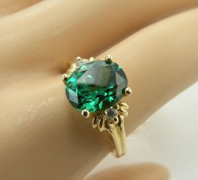 NEW 14k Yellow Gold Green Stone Oval Diamonique Ring Size 8 DQ CZ Womens 3.58 g.