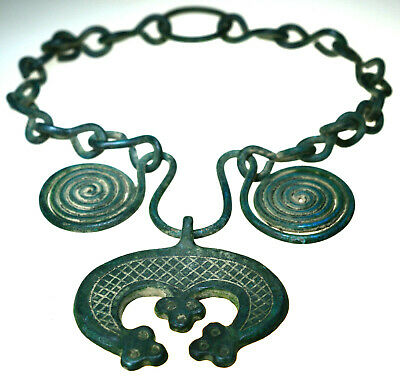 Large Viking Bronze Lunar Pendant Spiral Amulet with Chain