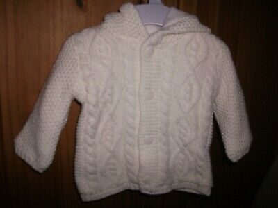 Baby Girls Ivory Fleece Lined Hooded Chunky Knit Cardigan - Age 0-3 Months