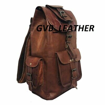 20'' Leather Backpack Travel Rucksack Luggage Camping Holiday Bag Genuine Brown