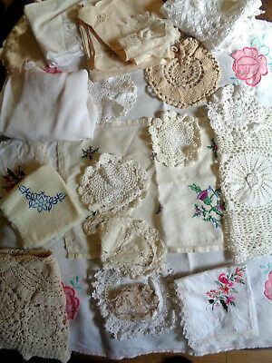 Job Lot Vintage Embroidered Table Cloth Mats Tray Cloth Doilies 23 item (#23)