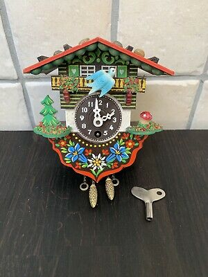 Vintage J. Engstler Mini Cuckoo Clock & Key GERMANY Spares