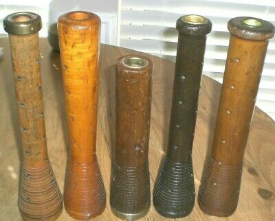 """Lot of 5 Large Antique Wooden Spindles, Four 12"""", One 10"""""""