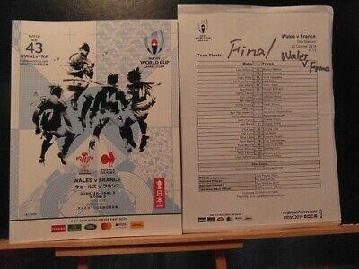 2019 World Cup Wales V France Quarter Final  Rugby Union Programme