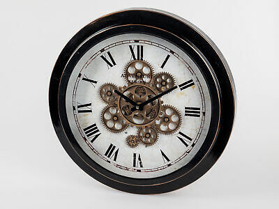 Wall Clock Antique Move D.46cm with Mobile Gears Black White Braun Formano
