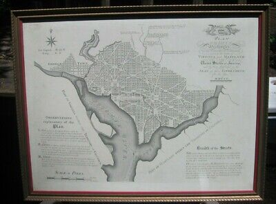 1892 reprint of 1792 Plan of the City of Washington by Thakara and Vallance