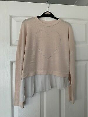 Beautiful Girls 9 /10 River Island Frill Jumper  Good condition Pale Pink
