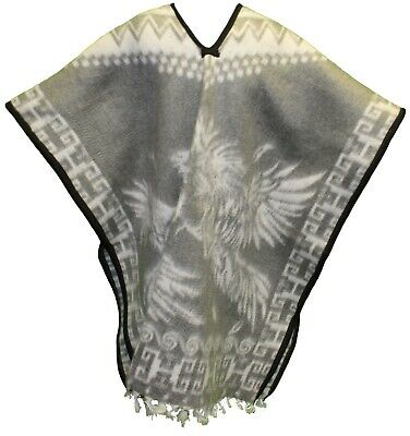 HEAVY BLANKET Mexican PONCHO GALLOS 5 GRAY ONE SIZE FITS ALL Gaban
