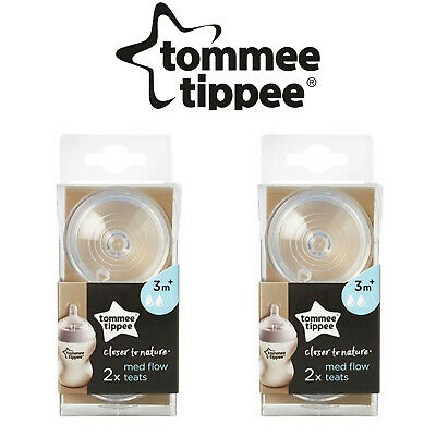 2 x Tommee Tippee Closer To Nature Medium Flow Teats x 2 (Pack of 2)