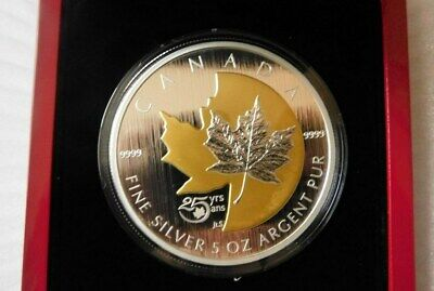 2013- 5OZ FINE SILVER COIN 25TH Anniversary of the Silver Maple Leaf 2500 minted