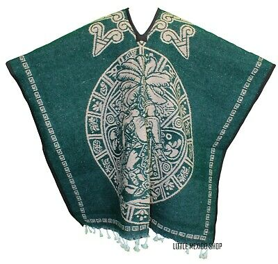 Mexican Poncho, Handmade, Heavy Blanket - Tribal 19 Green - One Size Fits All