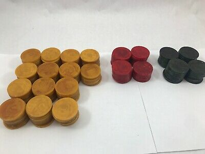 200+ Vintage Catalin Bakelite Poker Chips-Butterscotch/Red/Green Swirl