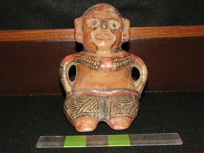 Pre Columbian, Pottery, H2O2 Tested, Costa Rican, Rare Sitting Figure, 800 1200