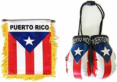 2 piece set  Puerto Rico Window Hanging Car Flag, & Puerto Rico Boxing glove