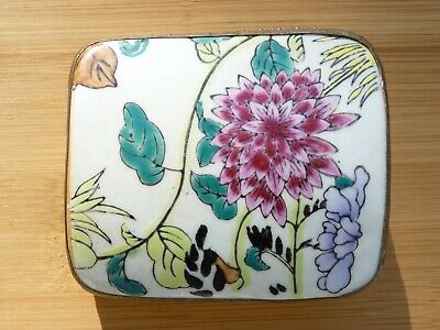 Antique Chinese Export Enamel Painted Floral Shard Box