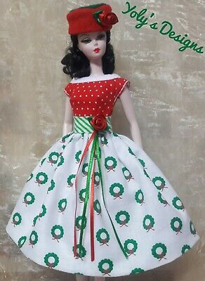 HANDMADE Dress FOR Barbie Silkstone Reproduction Vintage Doll CHRISTMAS FREE HAT