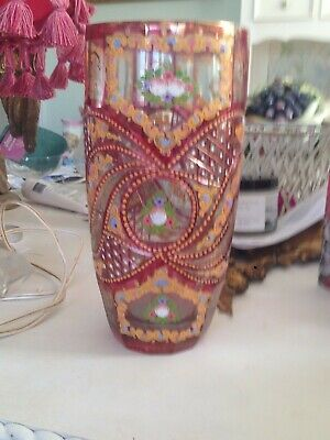 ONE OF ELEGANT CUT GLASS HAND PAINTED VASE. 27 cm  RRP $250