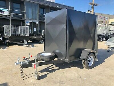 6x4 SINGLE AXLE 5FT HIGH FULLY ENCLOSED VAN/CARGO TRAILER 1t GVM + BRAKES +SPARE