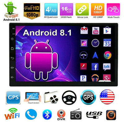 """Bluetooth Car Stereo Radio Android 8.1 2 DIN 7"""" MP5 Player GPS Wifi + 2.5D Glass"""