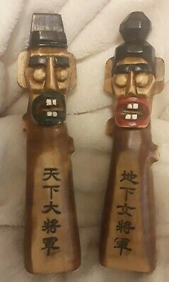 Nice Vintage Pair of Hand Carved Wood Man Woman Tiki Collectible Statues