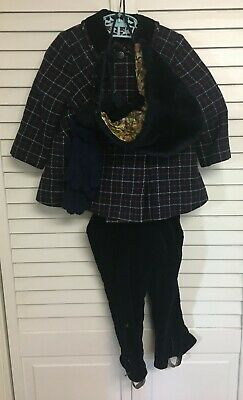 Vintage S J Buchman Boys Wool Coat Pants Hat Gloves Outfit Size 3 Clothing